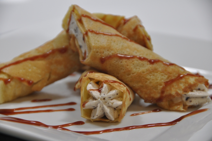Rolled Crepes Rasp Caramel Drizzle